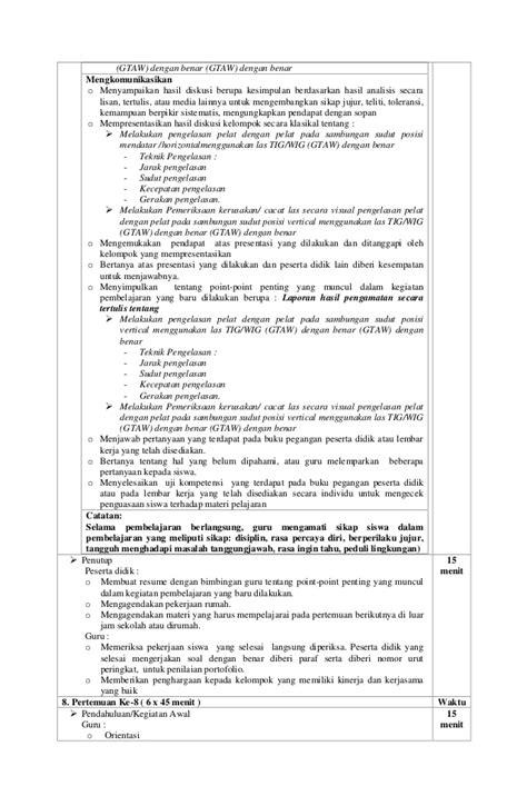 Melakukan Pemeriksaan Dan Pengujian Hasil Las Untuk Smk U95 rpp smk teknik las tig wig gtaw kelas xii