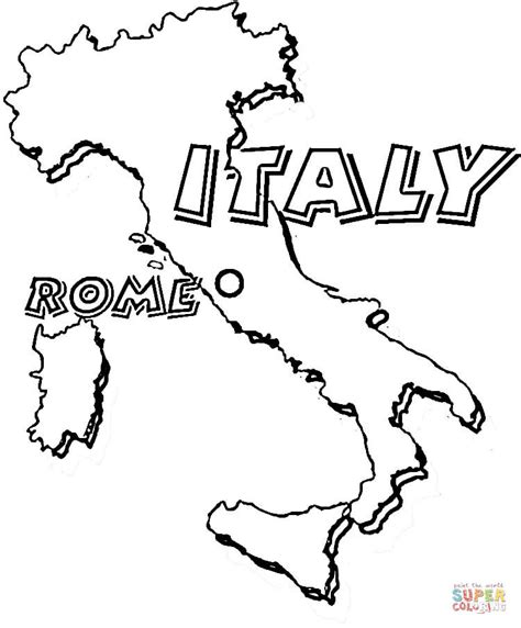 Italy Coloring Pages map of italy rome is the capital of italy coloring page free printable coloring pages