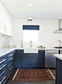 Blue And White Kitchen by Stylish Two Tone Kitchen Cabinets For Your Inspiration