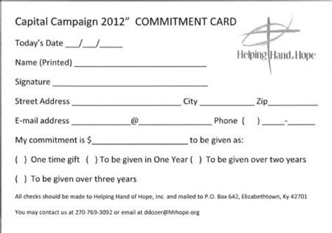 Commitment Letter For Church Ministry Helping Hardin County
