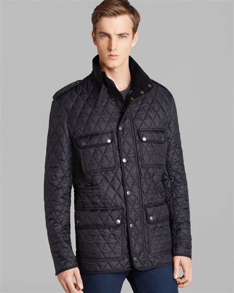 Mens Quilted Black Jacket by Burberry Brit Russel Quilted Jacket In Black For