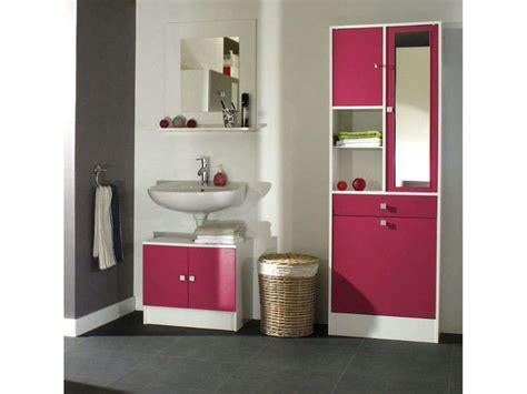 Meuble sous lavabo   miroir   lingère WAVE coloris fushia