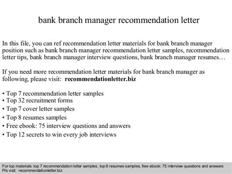 Promotion Letter For Branch Manager Bank Branch Manager Recommendation Letter
