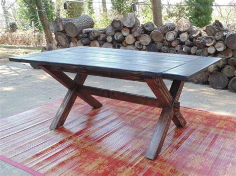 custom made reclaimed wood farmhouse crossed leg trestle table by wonderland woodworks
