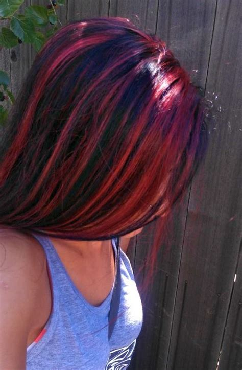 pictures of sapphire black hair with red highlights red black hair different but i love this hair