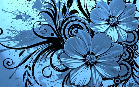 wallpaper blue flowers design vector flower blue wallpaper hd wallpaper vector