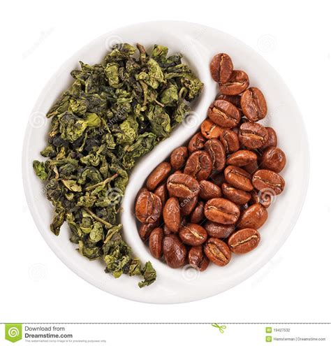 Green Tea Coffee Bean green leaf tea versus coffee beans in yin yang stock photo
