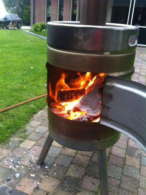 Keg Chiminea by Keg Pit Wood Stove Stainless Steel Tig