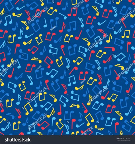 music notes pattern background seamless pattern with red yellow and blue music notes on