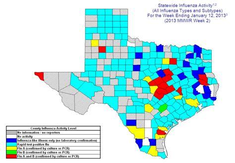 flu map texas 2012 2013 dshs flu report week 2