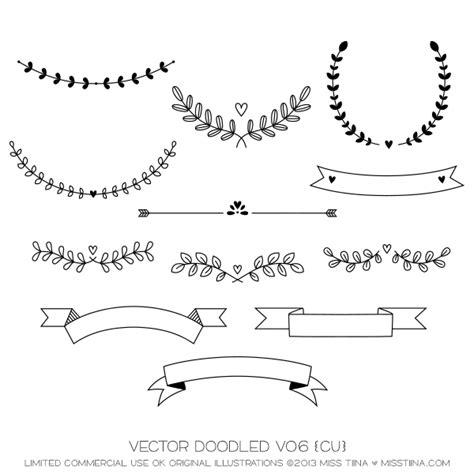 calligraphy ribbon banner labels printables pinterest vector doodled vo6 cu miss tiina digital art
