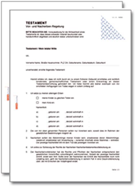 Vorlage Testament Schweiz Testament Vor Und Nacherbenregelung At Testament