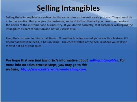 Of Selling Intangibles selling intangibles