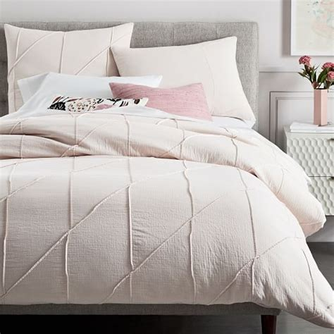 Pleated Duvet Cover Organic Pleated Grid Duvet Cover Shams Pink Blush
