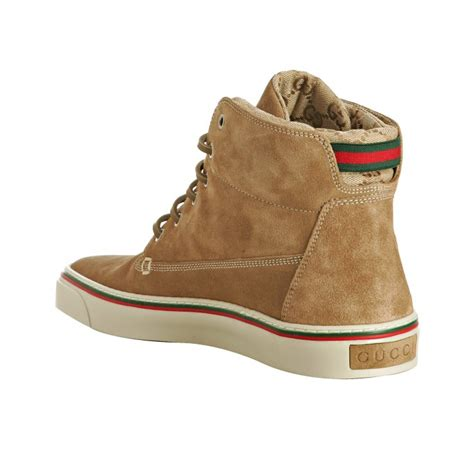 10 Top Gucci Shoes by Lyst Gucci Caramel Suede Lace Up High Top Sneakers In
