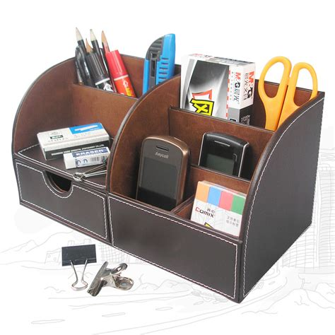 pen organizer for desk multi function wood structure leather desk stationery