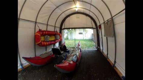 Shelter Logic 14' x 28' x 12' Round Top Garage   YouTube
