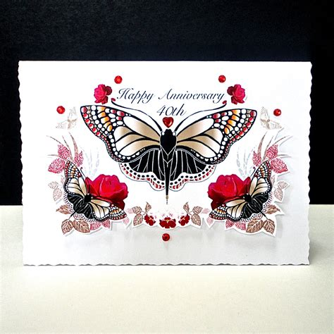 Ruby Wedding Anniversary Card And by And Butterfly Ruby Wedding Card Decorque Cards