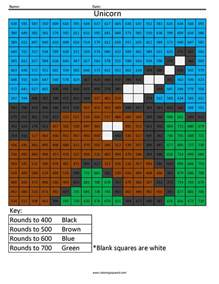 unicorn rounding hundreds place coloring squared