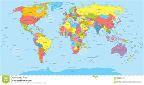 world political map with all countries world map with countries country and city names stock