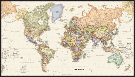 Classic World Map Wallpaper Wall - political world wall map with antique oceans