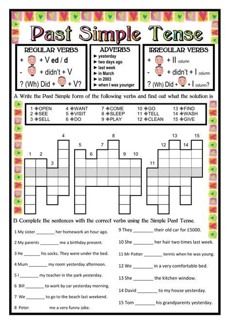 past tende past simple tense past simple worksheet