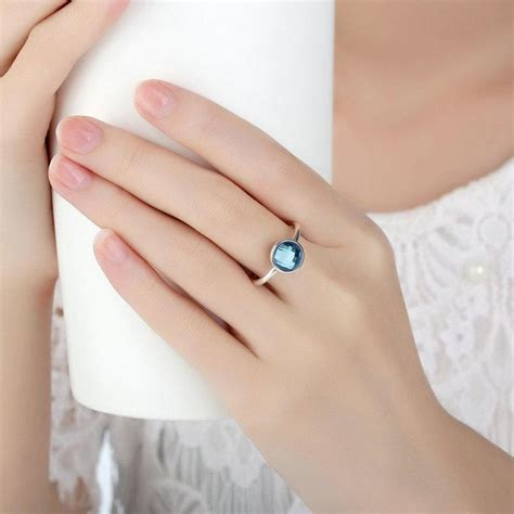 Aqua Blue Poetic Droplet Ring P 999 poetic droplet genuine 925 sterling silver rings with aqua blue engagement