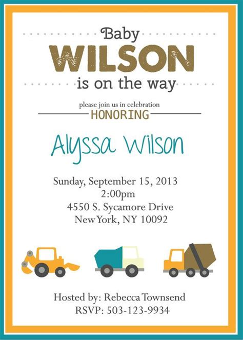 invite for baby shower at work baby shower invitation baby boy construction work crew
