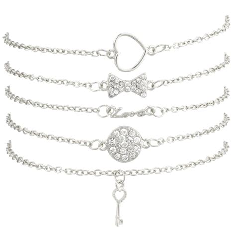 lovely heart key with bow pave bow circle key cutout bff best friends arm