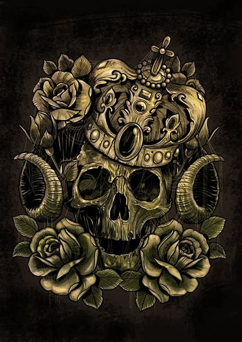 skull with crown tattoo designs skull in crown and roses design by andre77rodrigues