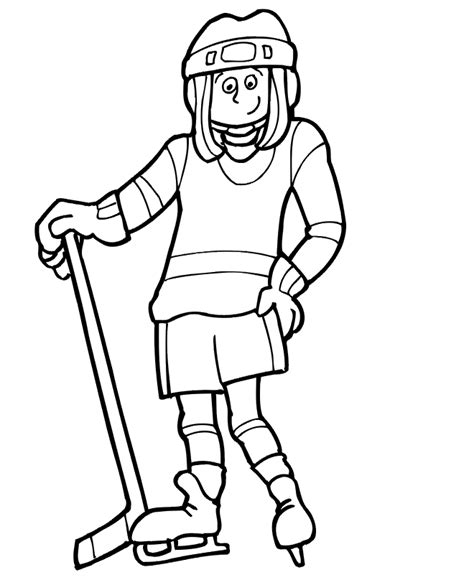 preschool hockey coloring pages hockey coloring page girl hockey player hockey ideas