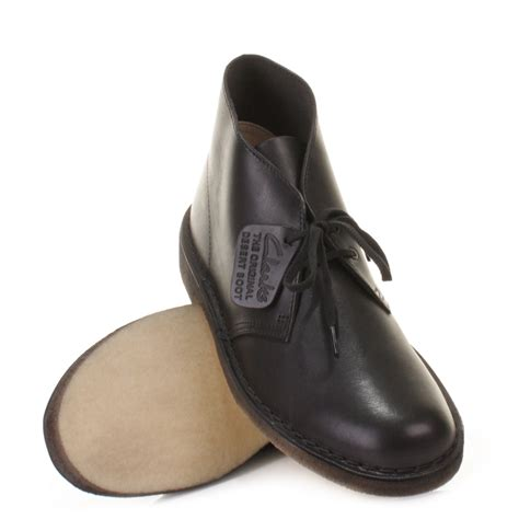clarks desert boots black leather www imgkid the