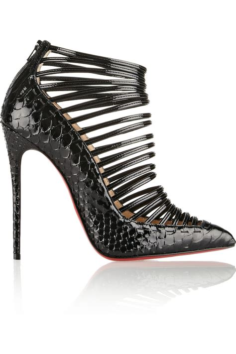 lyst christian louboutin gortik 120 python and patent leather ankle boots in black