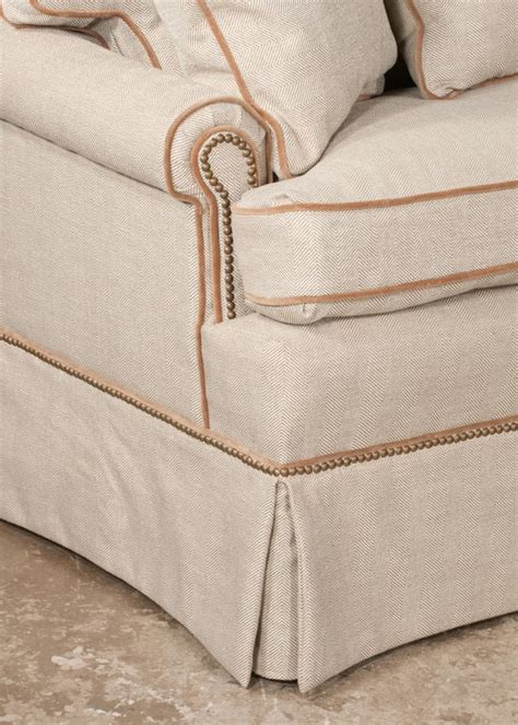 fabric covered sofas ralph sofa covered in a custom herringbone fabric 68