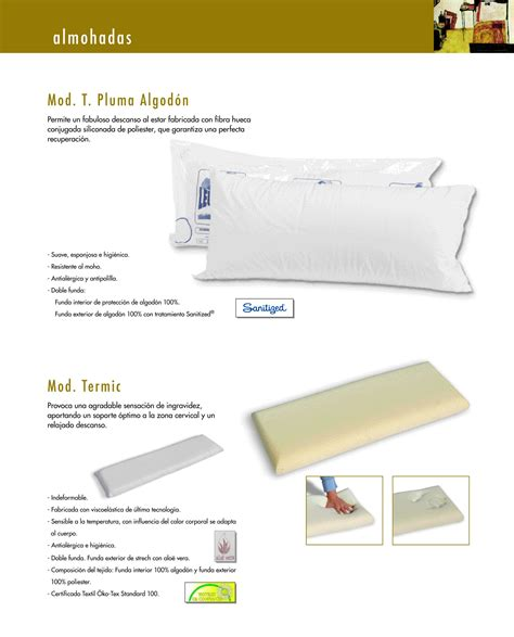 almohadas de plumas almohadas pluma algod 243 n y termic