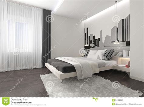 eccezionale Pareti Camera Da Letto Colorate #1: modern-bedroom-interior-dark-curtains-white-blanket-drawings-walls-carpet-parquet-floor-54799842.jpg
