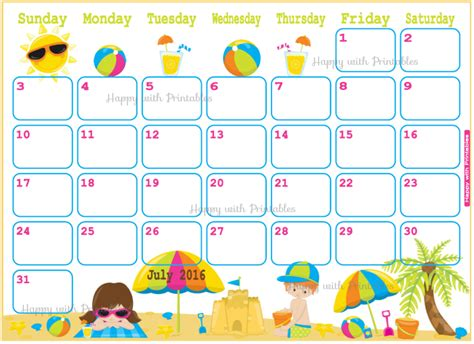 children s calendar template happywithprintables july 2016 planner vacation planner