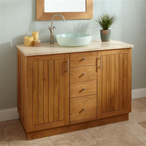 48 Quot Montara Teak Vessel Sink Vanity Natural Teak Bathroom Bathroom Sink With Vanity