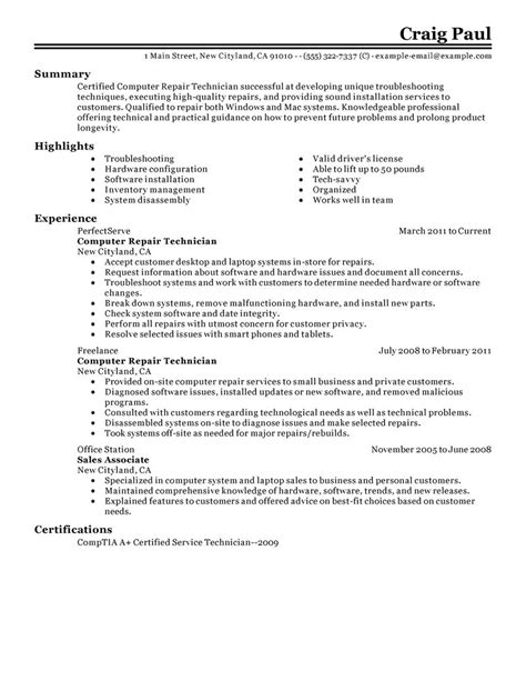 Computer Professional Resume Best Computer Repair Technician Resume Exle Livecareer