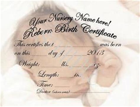 Reborn Birth Certificate Template by Reborn Birth Certificates Ebay