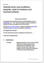 Website Terms Conditions Template Retail Of Hardware With Software Website Terms And Conditions Template