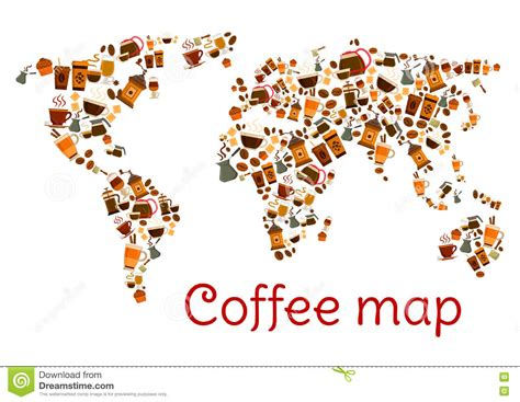 Coffee World coffee world map poster with cup and dessert stock vector