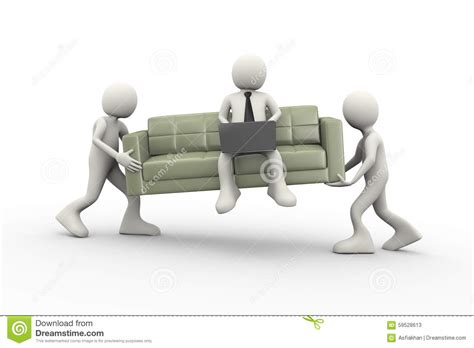 couch people 3d people carrying couch and man with laptop stock