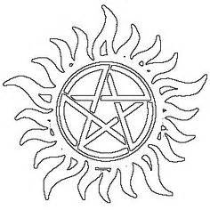 Supernatural Tattoo Symbol Stencil Sketch Coloring Page sketch template