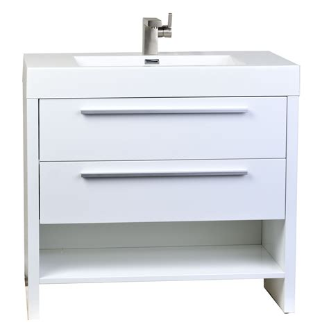 White Bathroom Vanities Buy Mula 35 5 In Modern Bathroom Vanity High Gloss White Rs L900 Hgw On Conceptbaths