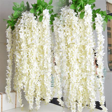 Bulk Vases Cheap White Wisteria Garland 70 Hanging Flowers 5pcs For