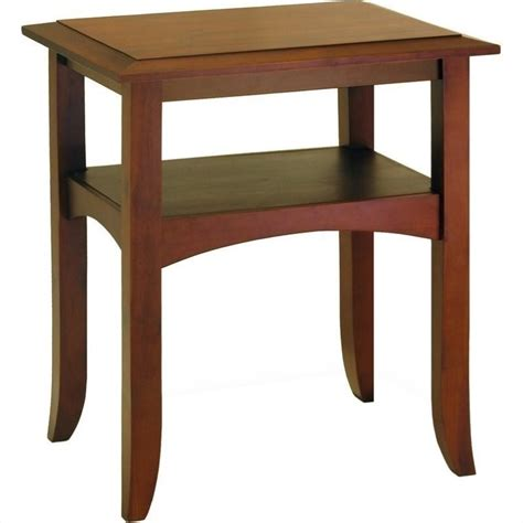 Wooden End Tables Winsome Pine Wood Antique Walnut End Table Ebay
