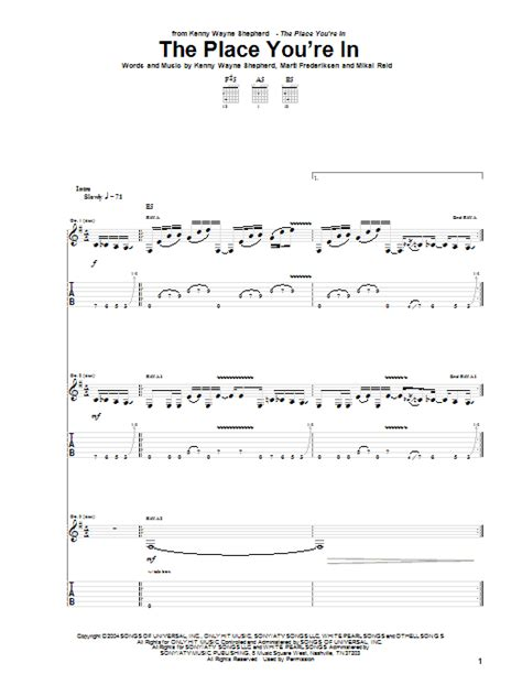 The Place Guitar Tab The Place You Re In By Kenny Wayne Shepherd Guitar Tab Guitar Instructor