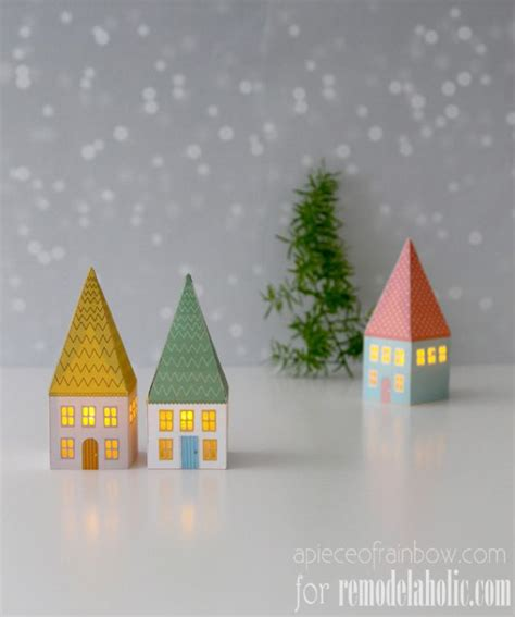 Printable Paper House Luminaries | remodelaholic printable mini house luminaries