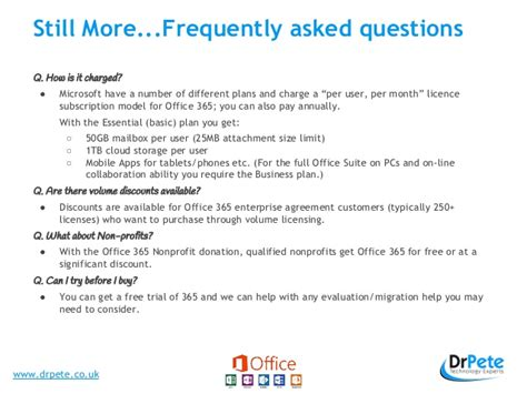 Office 365 Questionnaire Office 365 Frequently Asked Questions And Presentation